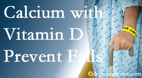 Calcium and vitamin D supplementation may be suggested to Plainville chiropractic patients who are at risk of falling.