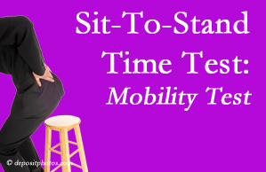Plainville chiropractic patients are encouraged to check their mobility via the sit-to-stand test…and increase mobility by doing it!