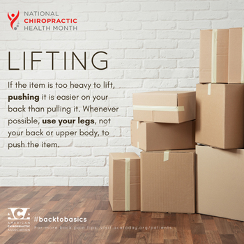 Layden Chiropractic advises lifting with your legs.