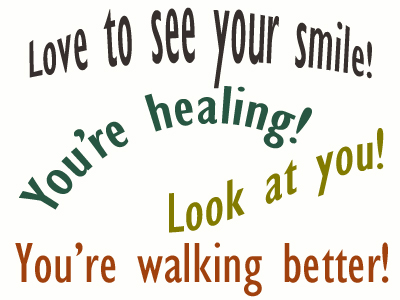 Use positive words to support your Plainville loved one as he/she gets chiropractic care for relief.